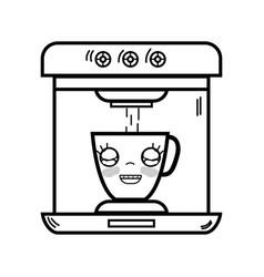 Line kawaii cute happy coffee maker technology vector