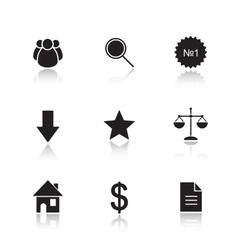 Marketing tools drop shadow icon set vector