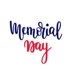 memorial day lettering patriotic american vector image
