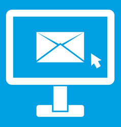 Monitor with email sign icon white vector