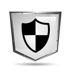 Protection security symbol shield steel icon vector