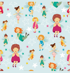 Seamless pattern background with cute fairy girls vector