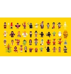 Set of characters for Halloween in a flat style vector image vector image