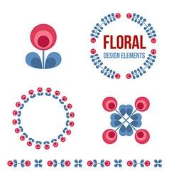 Set of design elements - retro flowers vector image