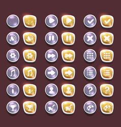 Set with shiny silver and gold interface buttons vector