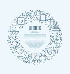wedding icons in circle vector image