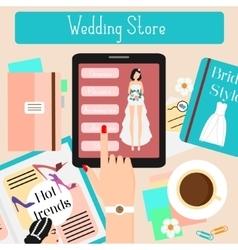 Wedding store concept flat vector image vector image
