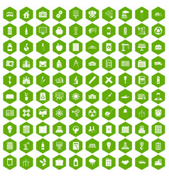 100 company icons hexagon green vector