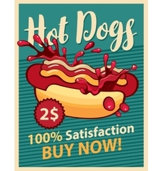 Hot dog and ketchup vector