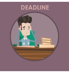 Businessman having problem with deadline vector