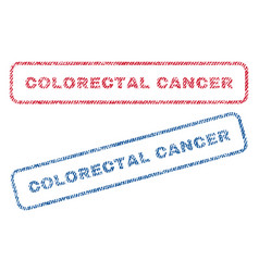 Colorectal cancer textile stamps vector
