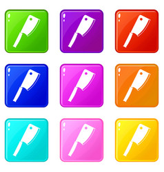 Meat knife icons 9 set vector