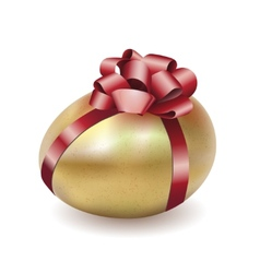 Easter gold egg with red bow and ribbon vector