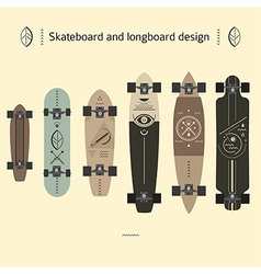 Skateboard and longboard design vector