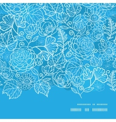 Blue field floral texture horizontal frame vector