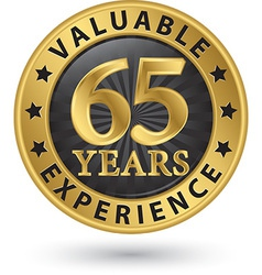 65 years valuable experience gold label vector