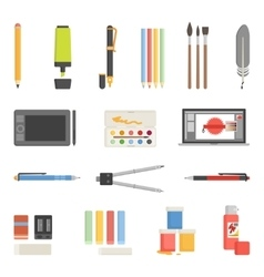 Drawing Tools Icons Flat Set vector image