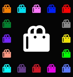 Shopping bag icon sign lots of colorful symbols vector