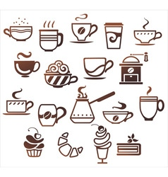 Coffee and tea cups set icons collection vector