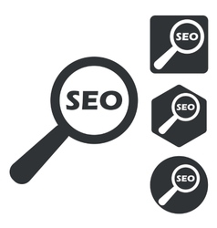 Seo search icon set monochrome vector