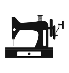 Black old sewing machine simple icon vector
