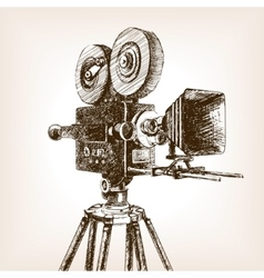 Old cinema camera sketch style vector