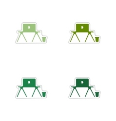 Set of paper stickers on white background laptop vector