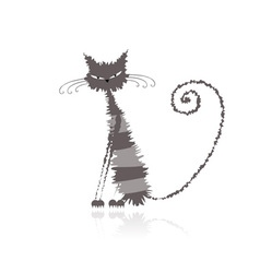 Grey wet cat vector