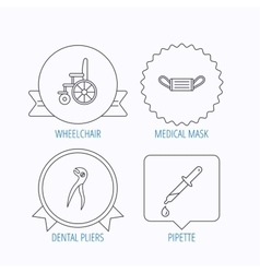 Medical mask pipette and dental pliers icons vector