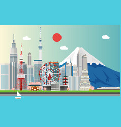 amazing tourist attrations for traveling in tokyo vector image vector image