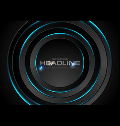 black circles with blue neon light background vector image vector image