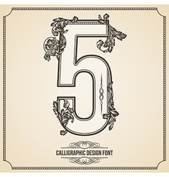Calligraphic font Number 5 vector image vector image