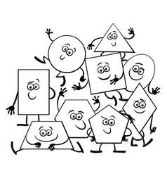 cartoon geometric shapes coloring book vector image