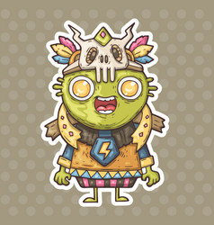 cartoon green shaman vector image vector image