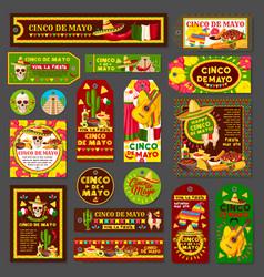 Cinco de mayo mexican fiesta party tag and card vector