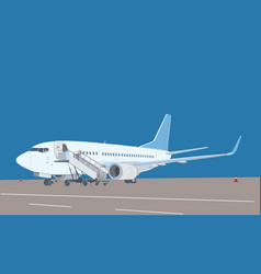 Commercial airliner with ladder vector