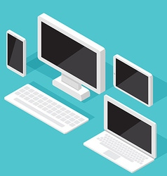 Computer Monitor Isometric set vector image