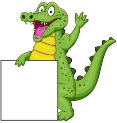Crocodile cartoon with blank sign vector