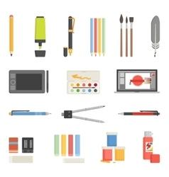 Drawing Tools Icons Flat Set vector image
