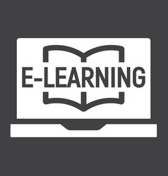 E learning solid icon education and online vector