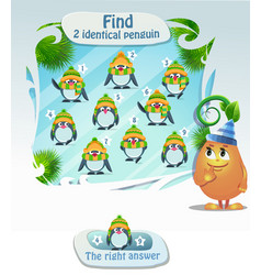 find 2 identical penguin vector image vector image