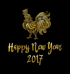 Golden rooster on black background Chinese the vector image