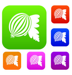 gooseberry with leaves set color collection vector image