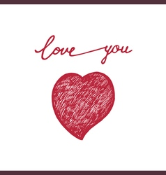 Hand drawn words love and doodle hearts vector
