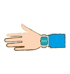 Hand with smart watch trendy wearable blue vector