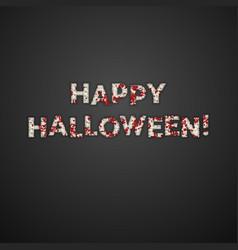 happy halloween greeting card mummy bandage font vector image