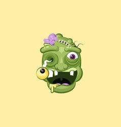 Head facial expression hungry zombie with vector