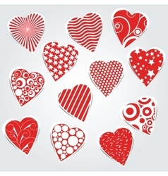 hearts set - stickers vector image