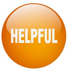 Helpful orange round gel isolated push button vector