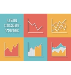 Icons in flat style graph types - set of vector